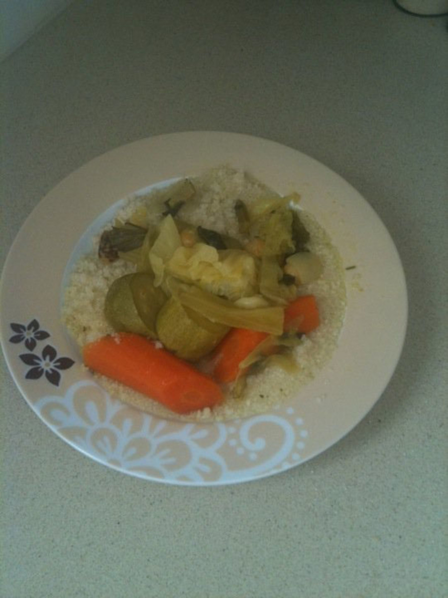 yellow cous cous soup