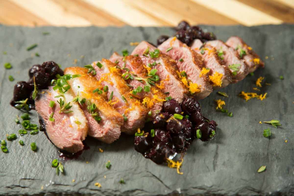 Seared Duck Breast with Blueberry Aigre-Doux