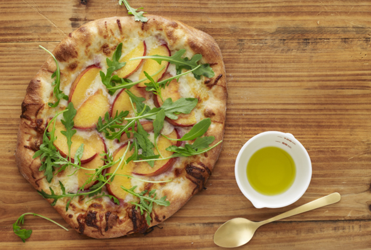 Peach and Arugula Pizza