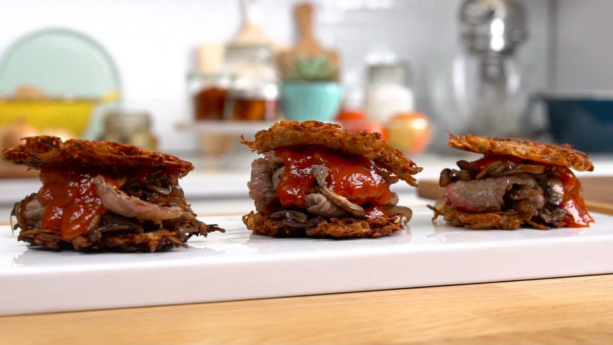 Steak Potato Pancake Sliders