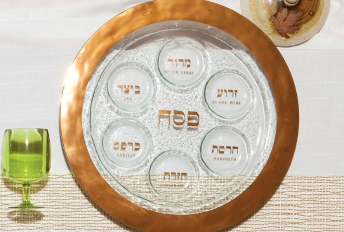 passover table seder plate