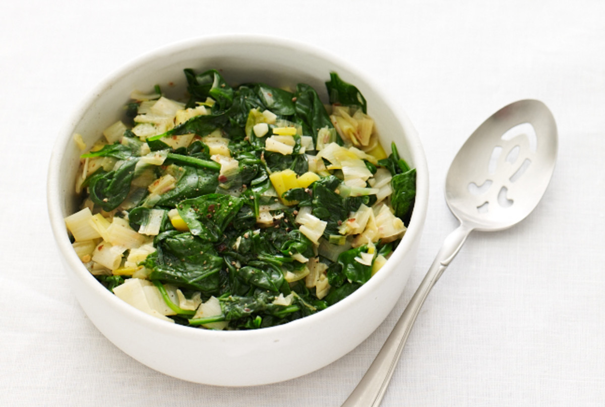 Spicy Sauted Leeks and Spinach