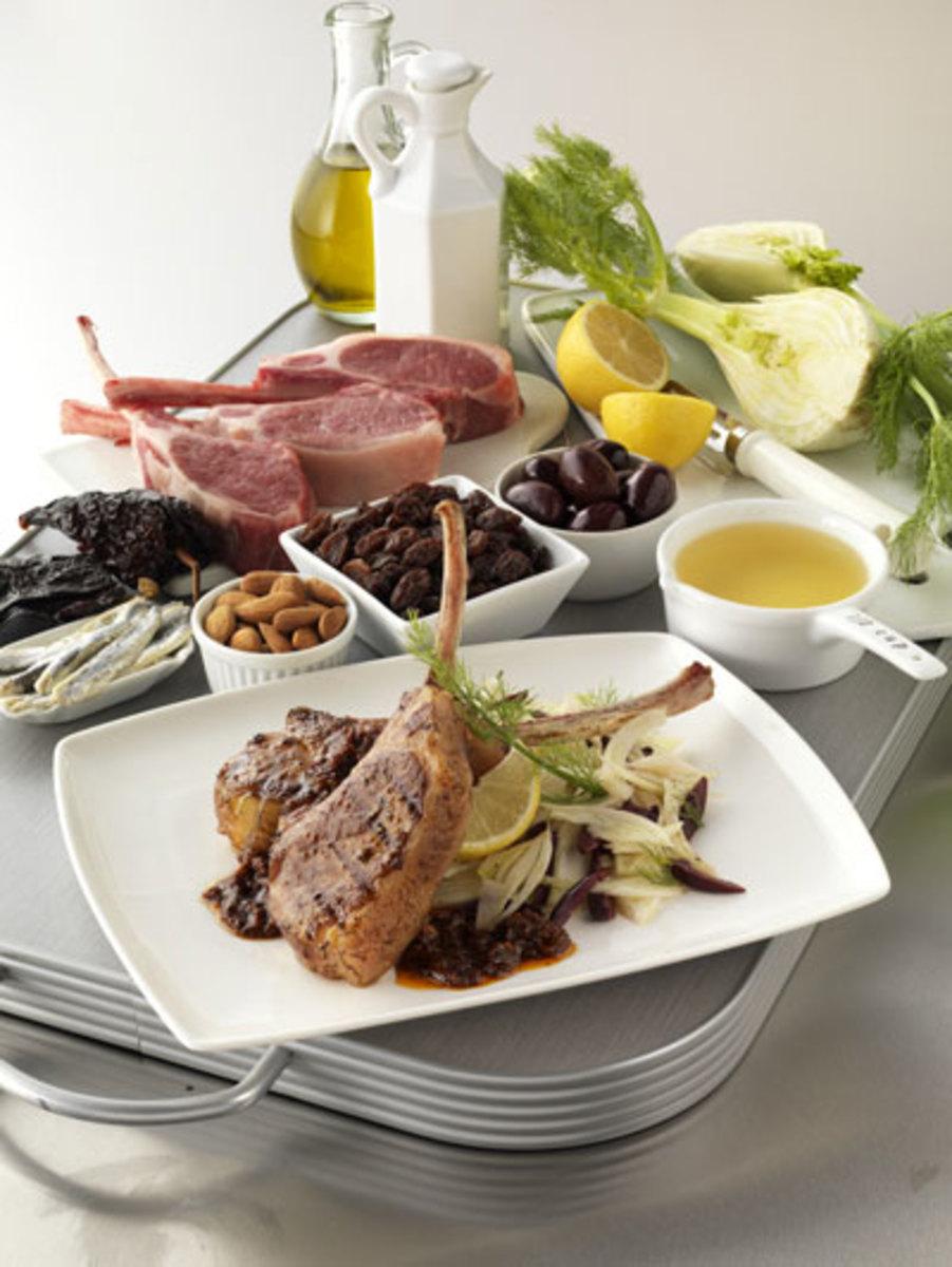 Grilled Lamb Chops, Red Salsa with California Raisins (Salsa de Pasitas Rojas) and Fennel Salad
