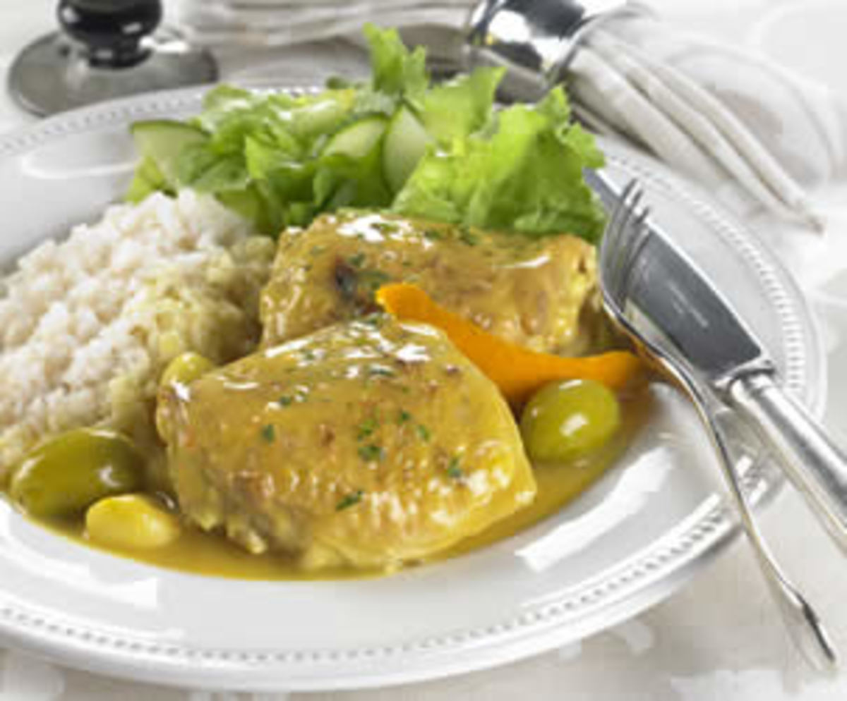 Orange and Green Olive Braised Chicken