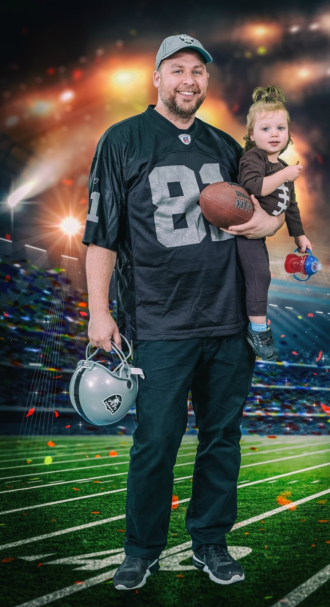 Jamie Geller's Hubby and Baby football dressed as raiders