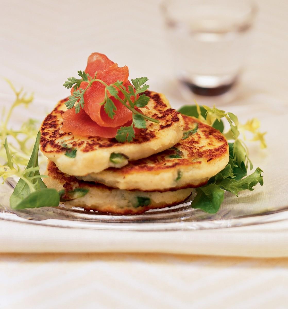 idaho potato and asparagus pancakes