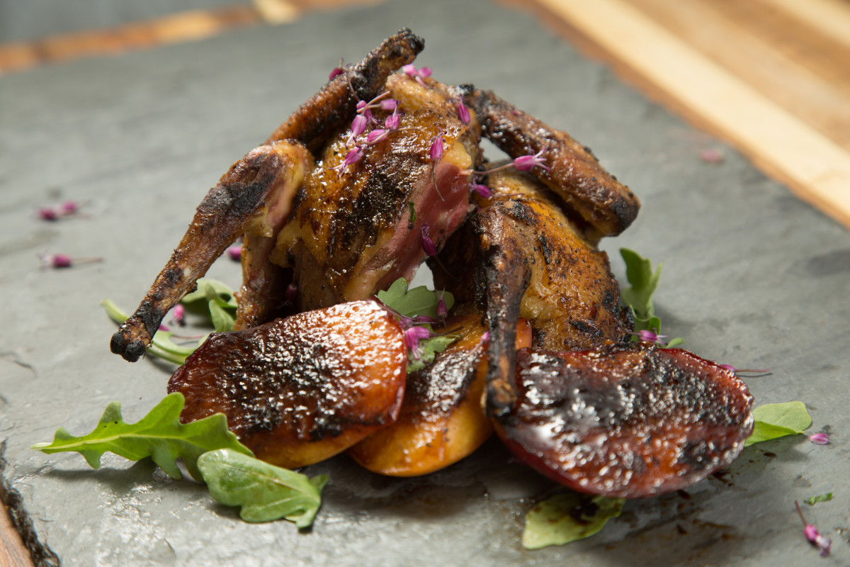 Kosher Squab with Peaches
