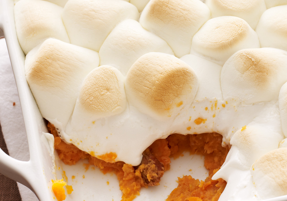 Marshmallow topped sweet potatoes