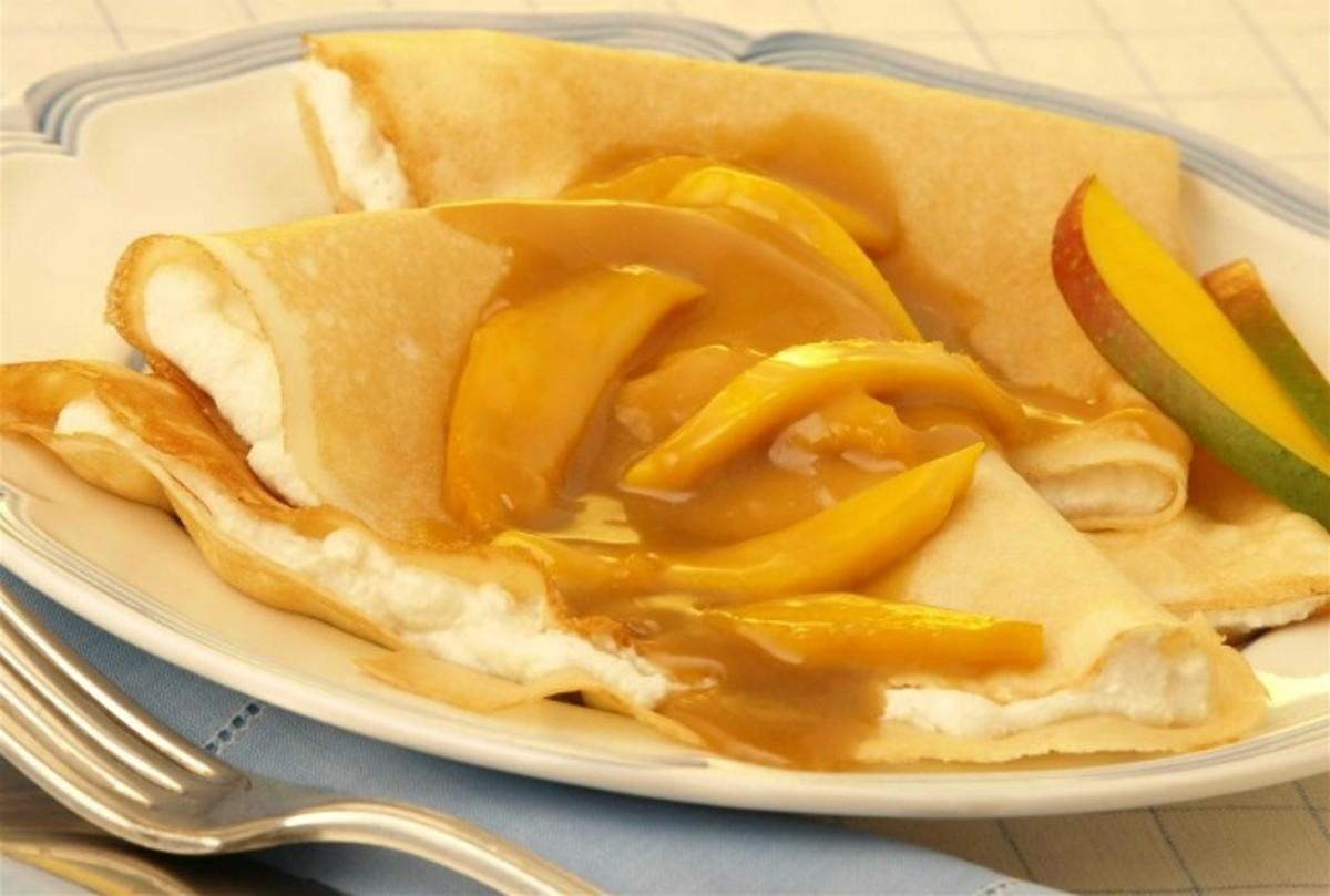 Mango Almond Crepes