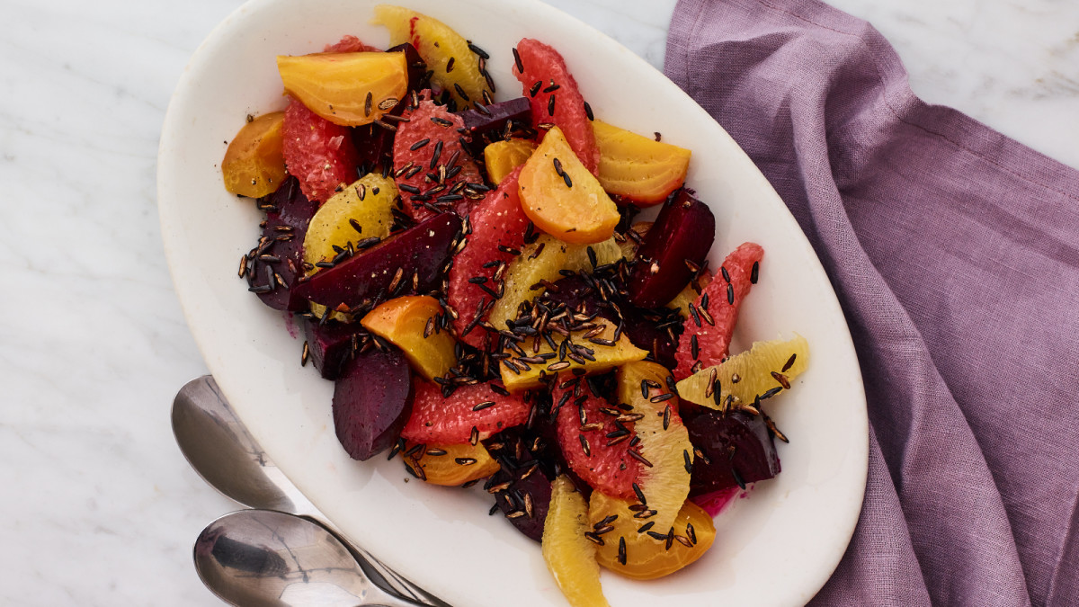 Winter Beet Salad with Popped Wild Rice