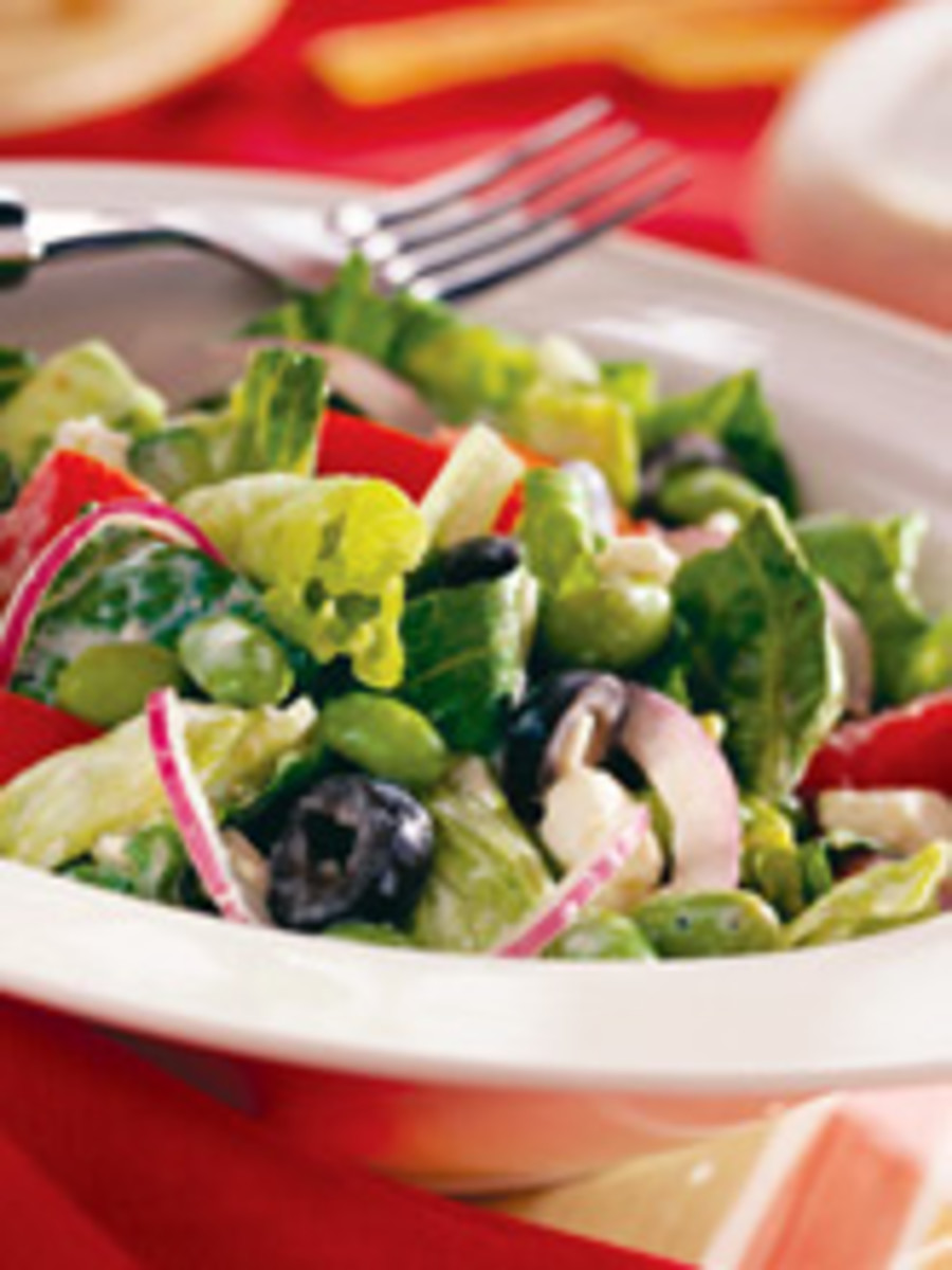 Greek Salad with Tangy Lemon Tofu Dressing