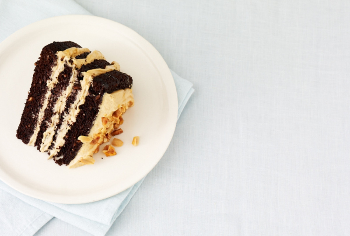 Chocolate Peanut Butter Mousse Cake with Peanut Praline and Caramel Sauce