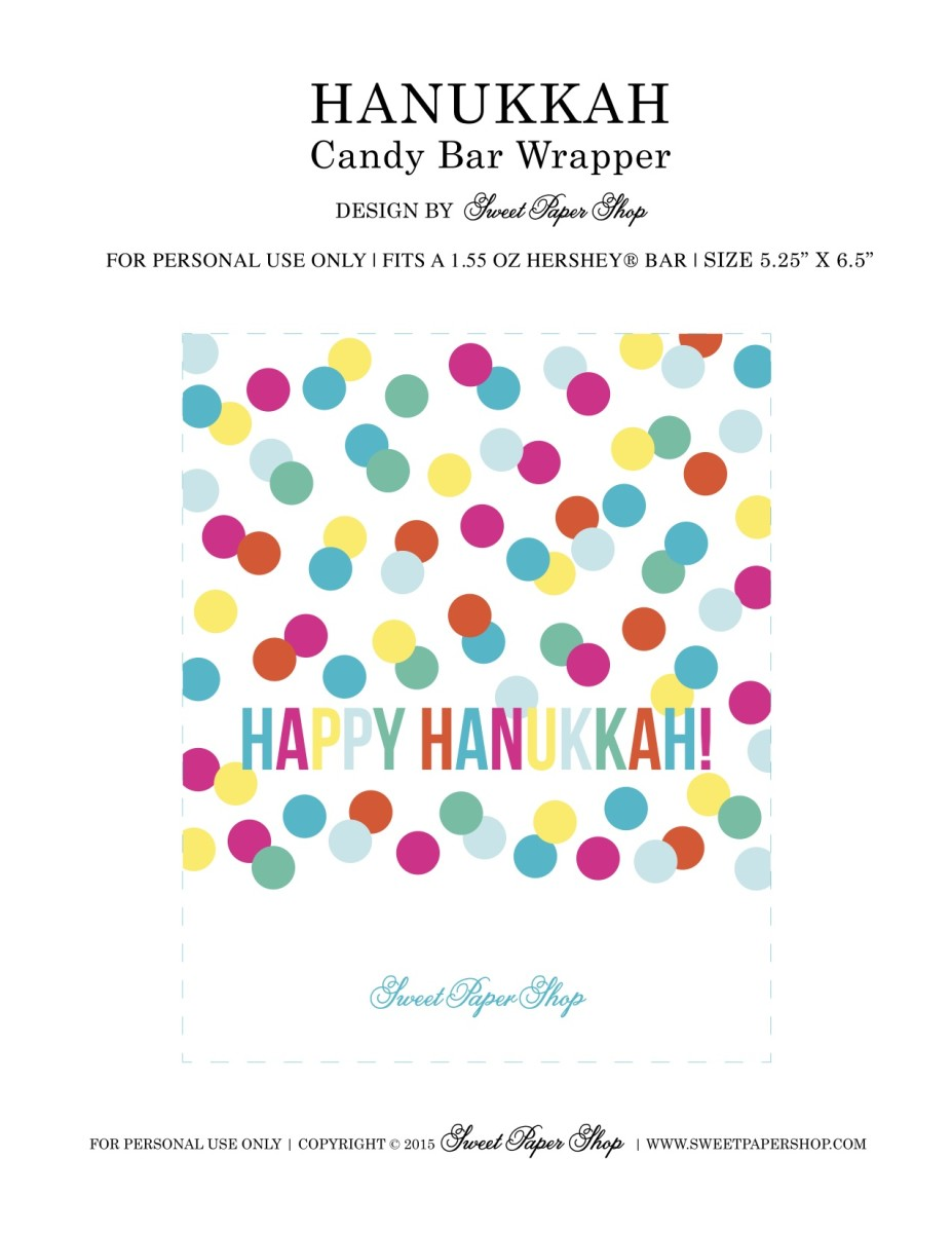 Printable Chanukah Candy Wrapper