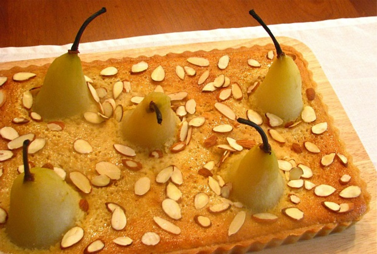 Frangipane Tart with Amaretto Honey Poached Pears