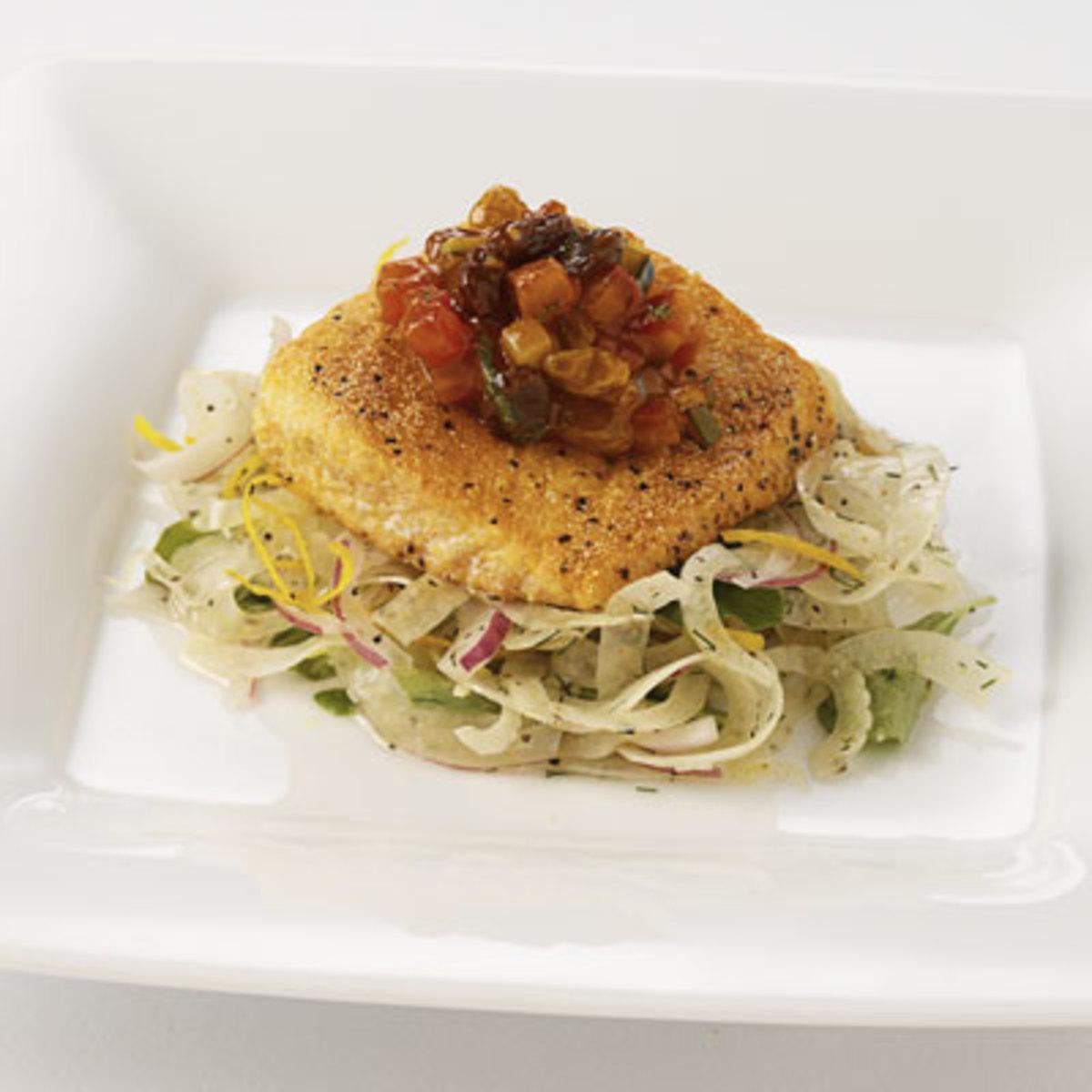 "Semolina Crusted Alaskan Salmon, California Raisin ""Ratatouille"" and Wilted Spinach"