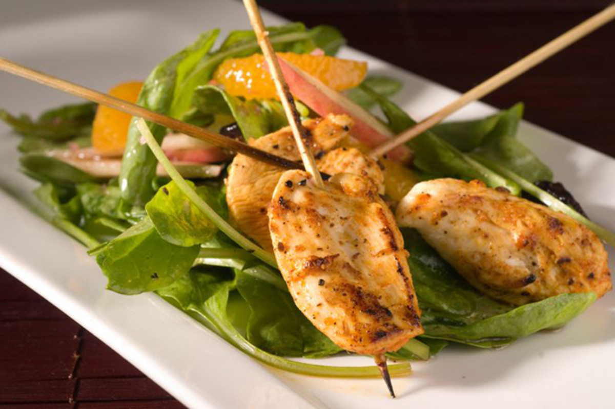 Tunisian Chicken Skewers with Pomegranate Dressing