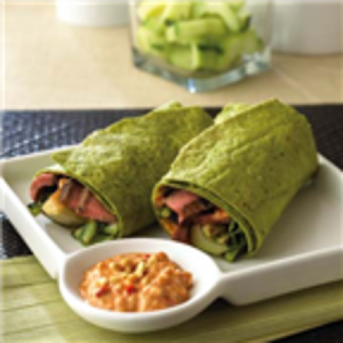 Grilled Szechuan Steak & Bok Choy Wraps with Spicy Peanut Mayonnaise