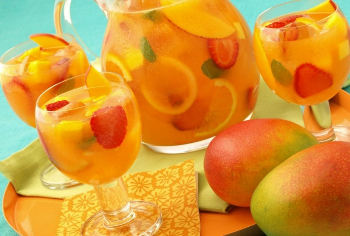 Sparkling Mango Strawberry Sangria (Non-alcoholic)