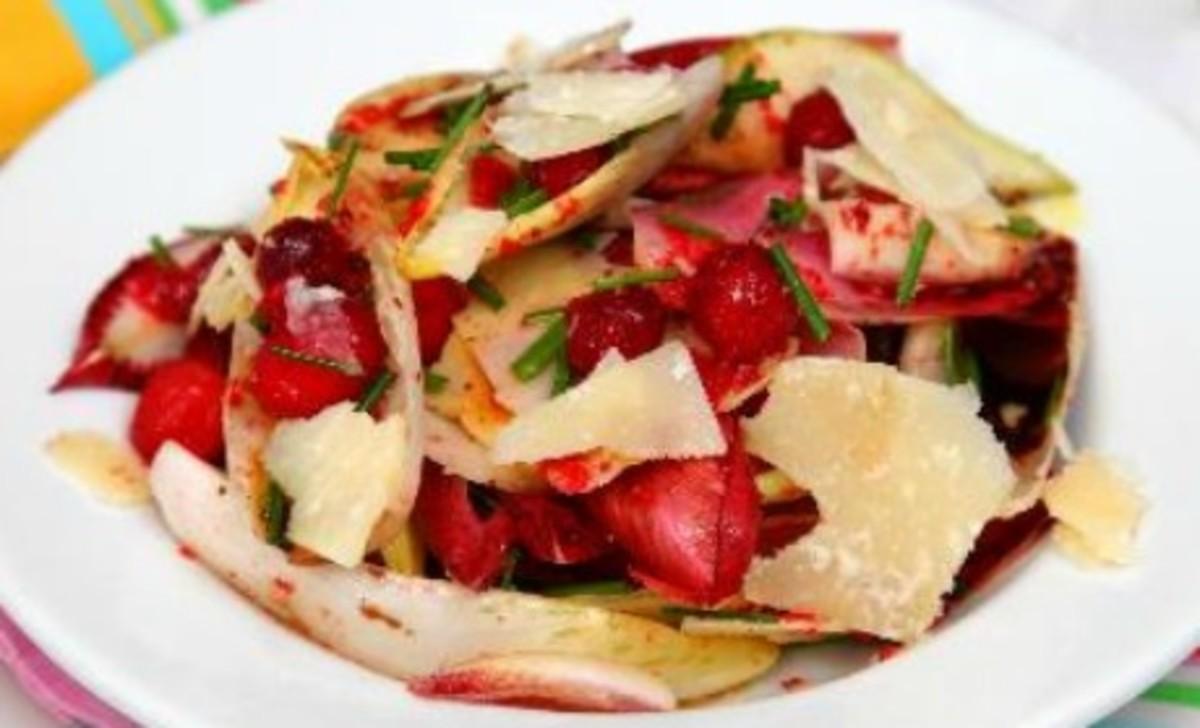 Witlof, pear, rocket, parmesan and cranberry salad