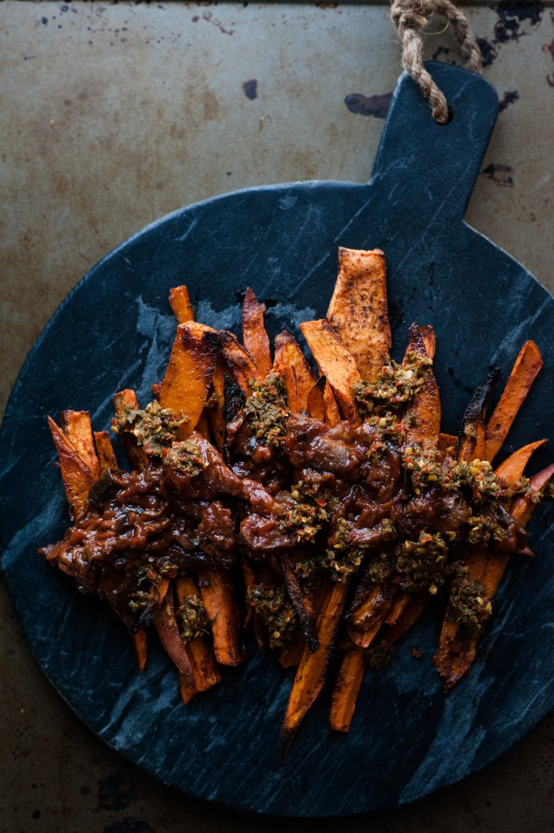 Sweet potato fries with sabra eggplant