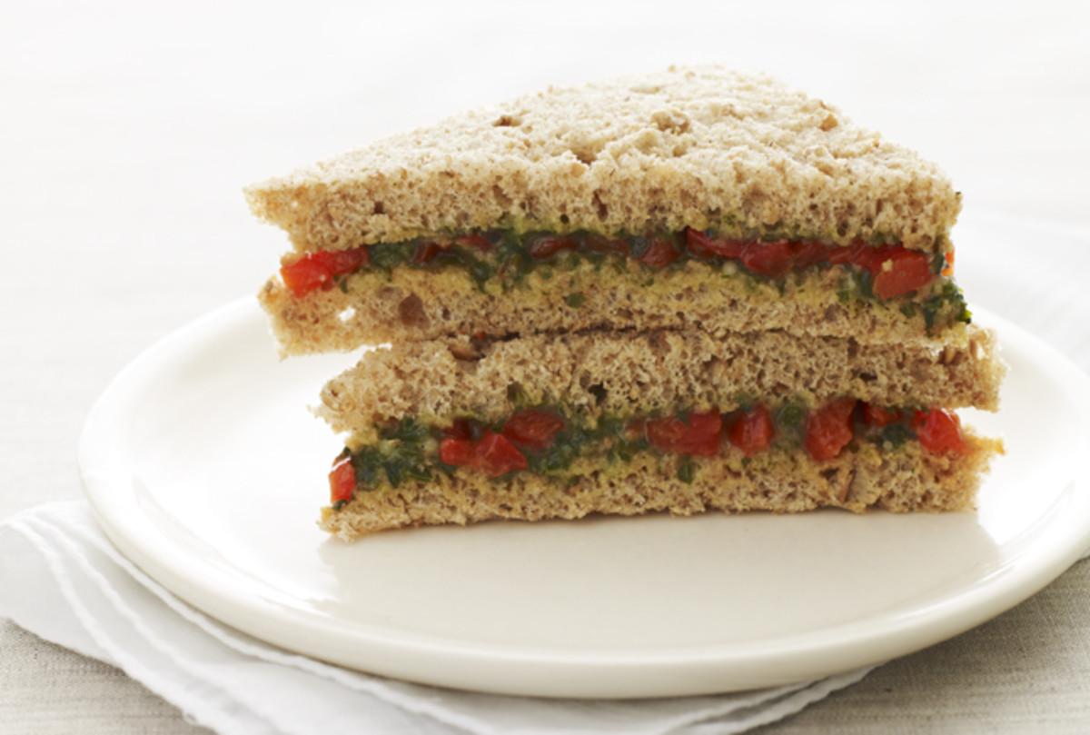 pesto tea sandwich