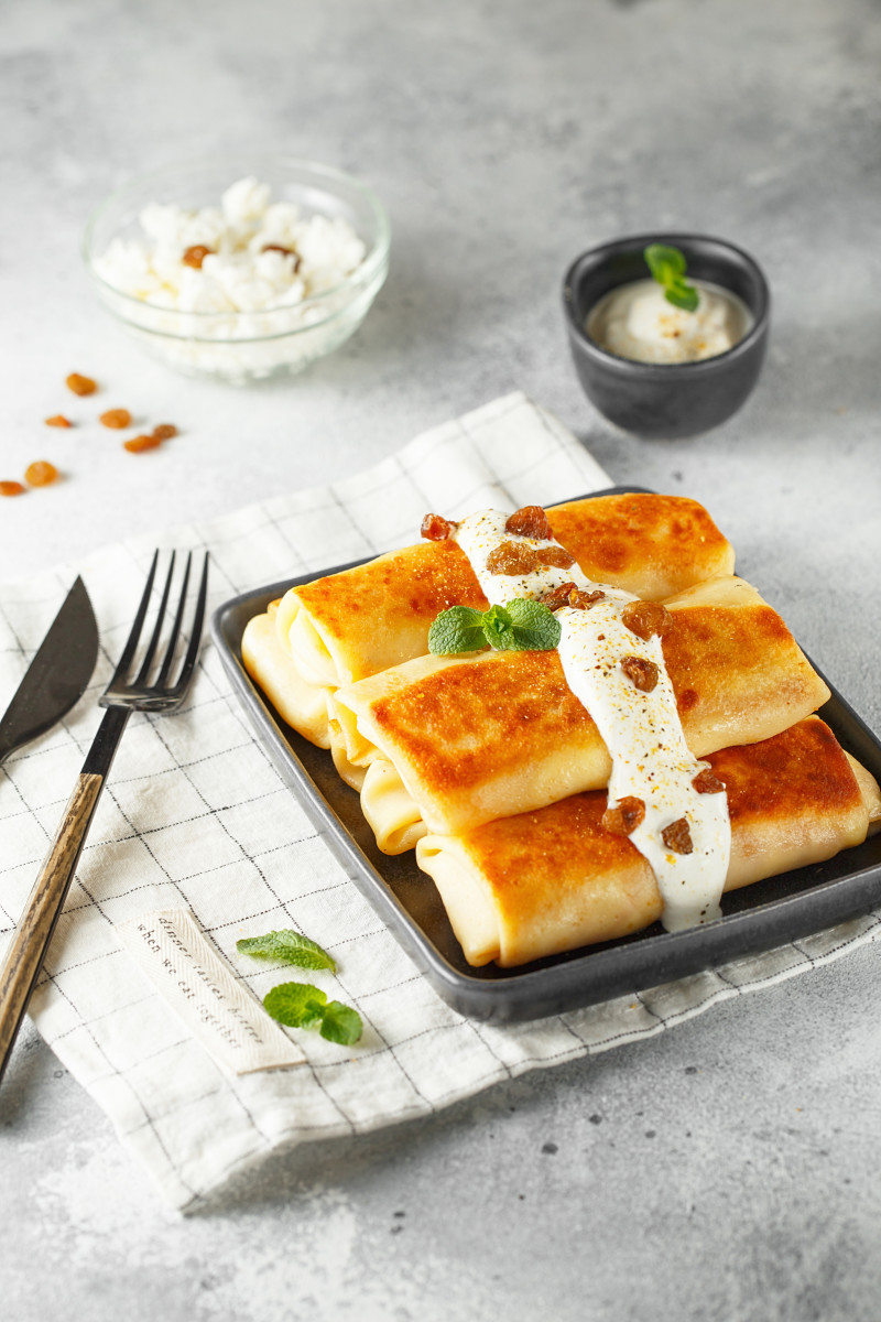 Corn Blintzes with cheese