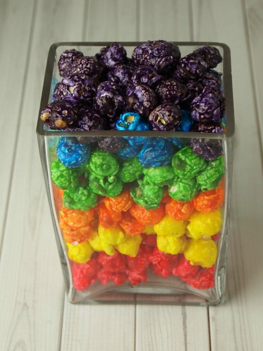rainbow popcorn vase