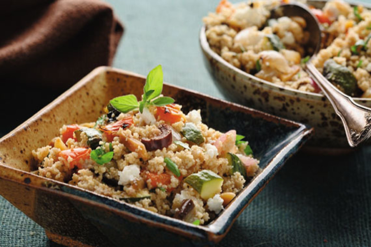 Mediterranean Salad with Roasted Vegetables and Whole Wheat Couscous