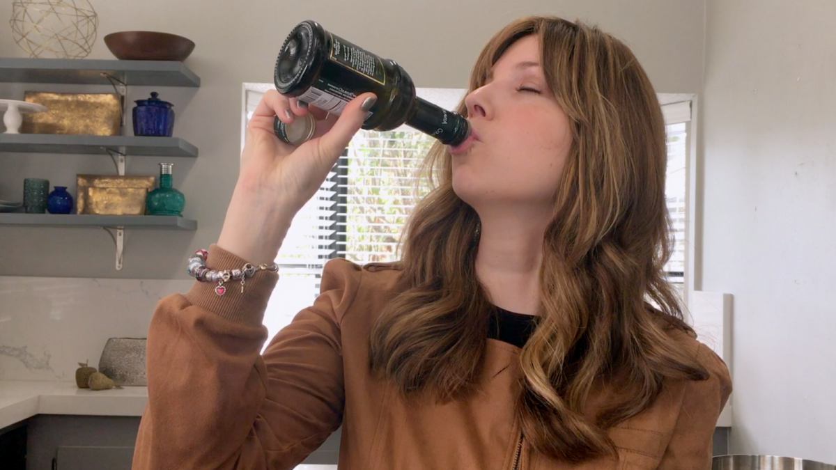 Jamie Geller Drinking Olive Oil