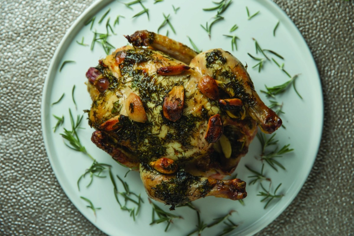 Lemon Herb Chicken with Roasted Garlic