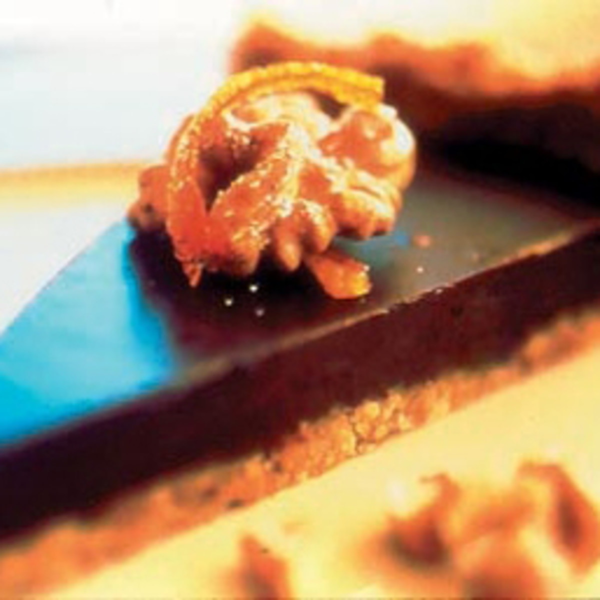 Orange Chocolate Truffle Tart with Walnut Crust