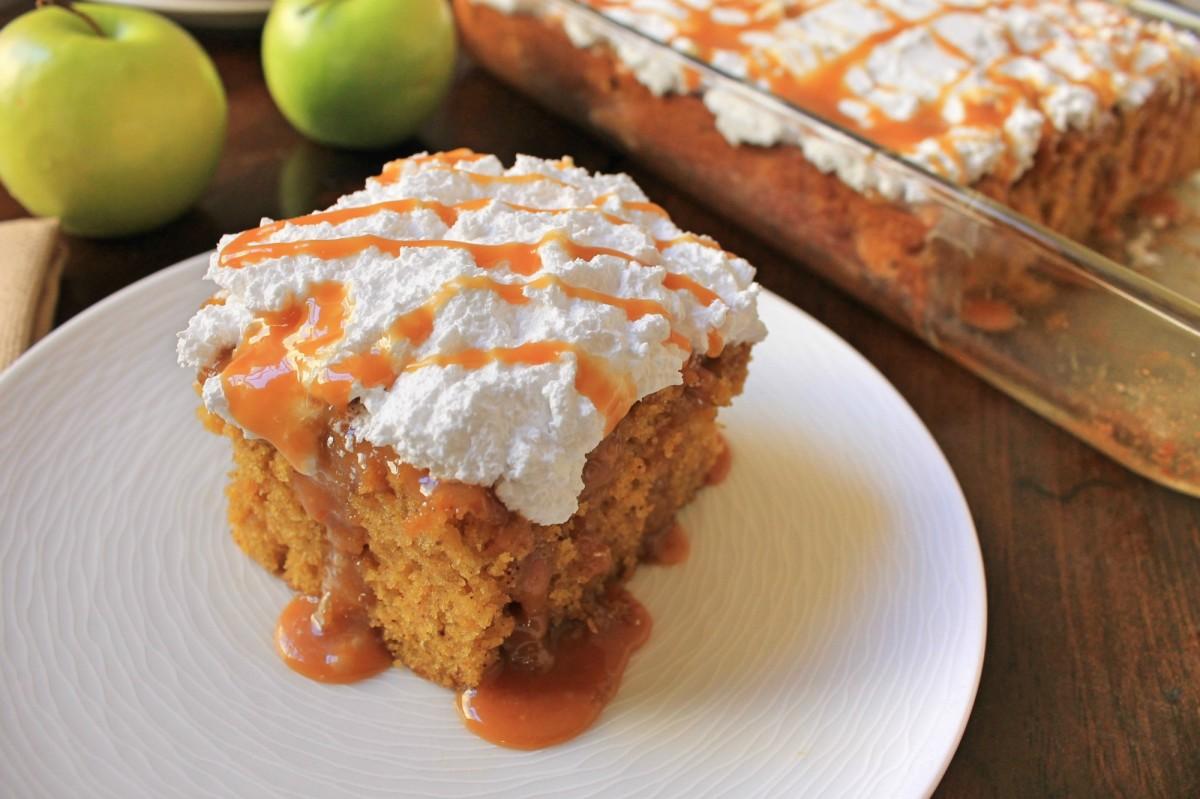Pumpkin Spice Caramel Apple Poke Cake