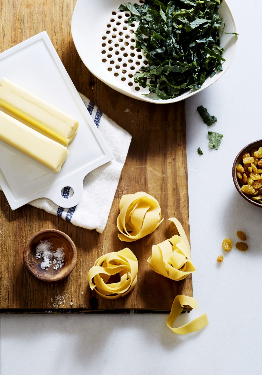 Pappardelle Pasta with Brown Butter, Raisins, and Wilted Kale