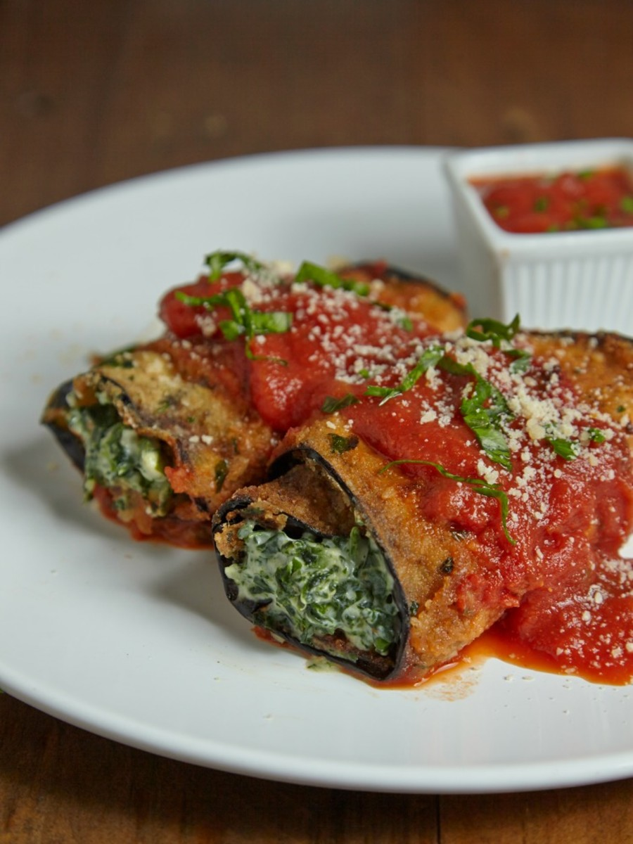 eggplant roll ups with cream cheese and spinach