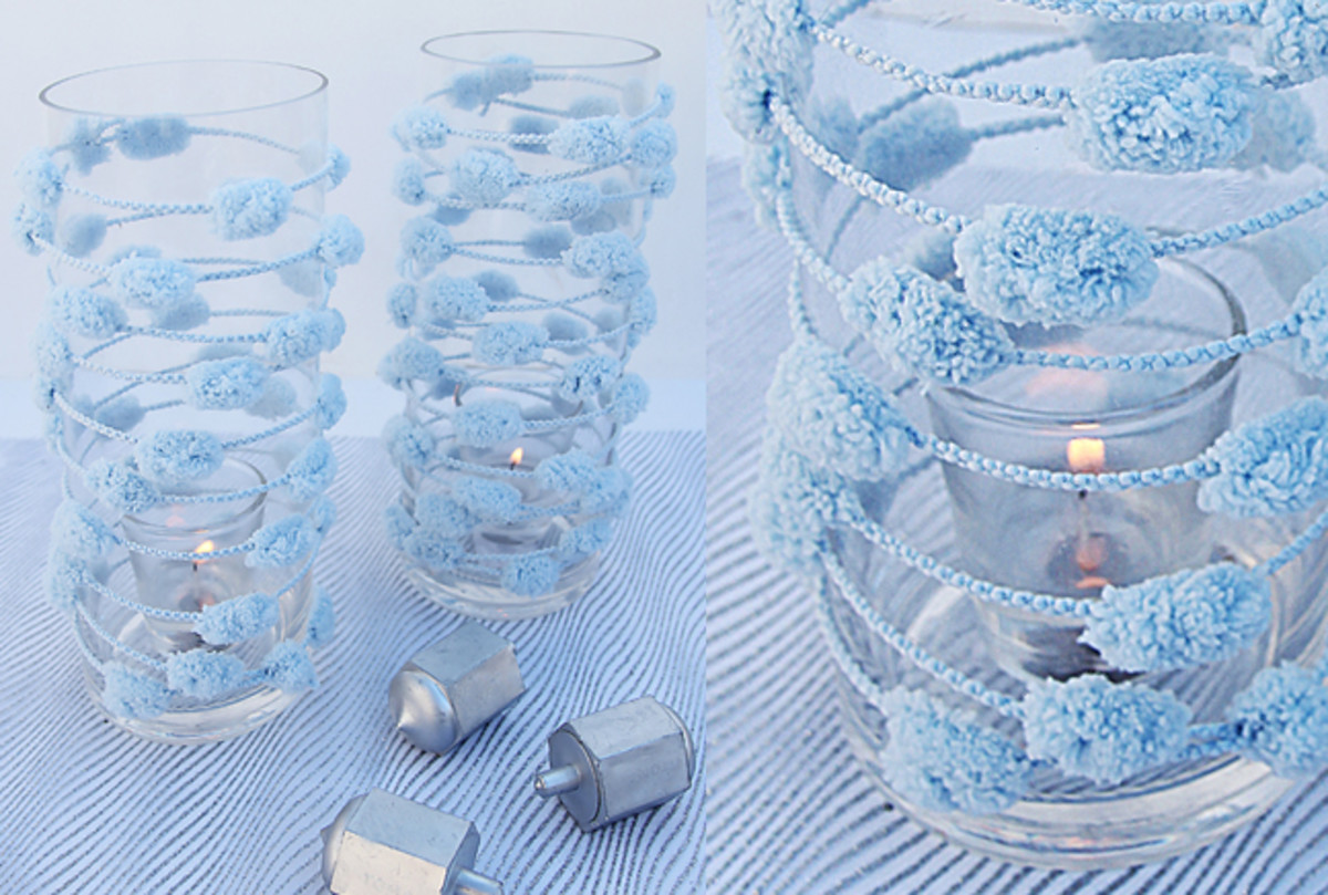 Chanukah pom pom yarn candle jars jOK