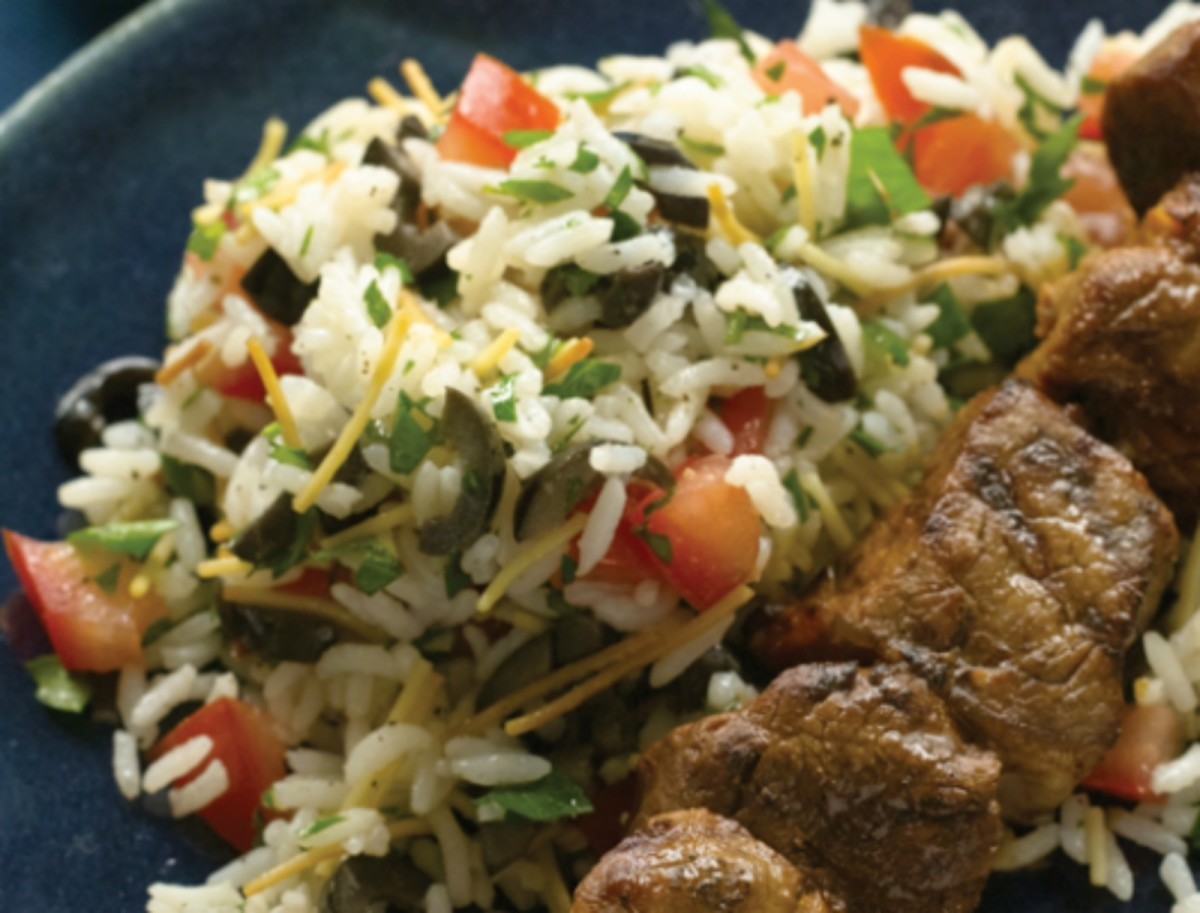 Rice Pilaf with Fresh Tomatoes, Olives, and Parsley