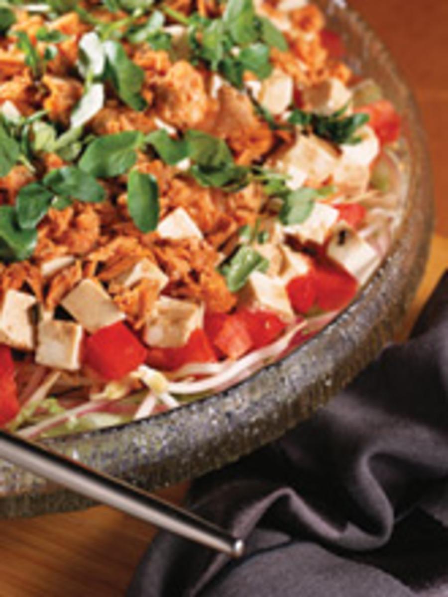 Layered Tofu Salad & Warm Soy Sauce Dressing