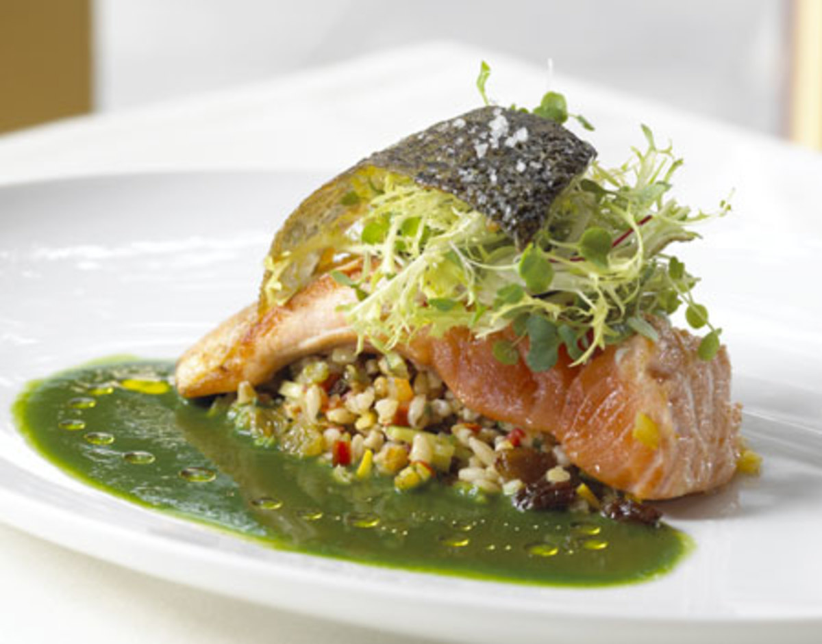 Roasted Salmon with Pearl Barley and Parsley Coulis