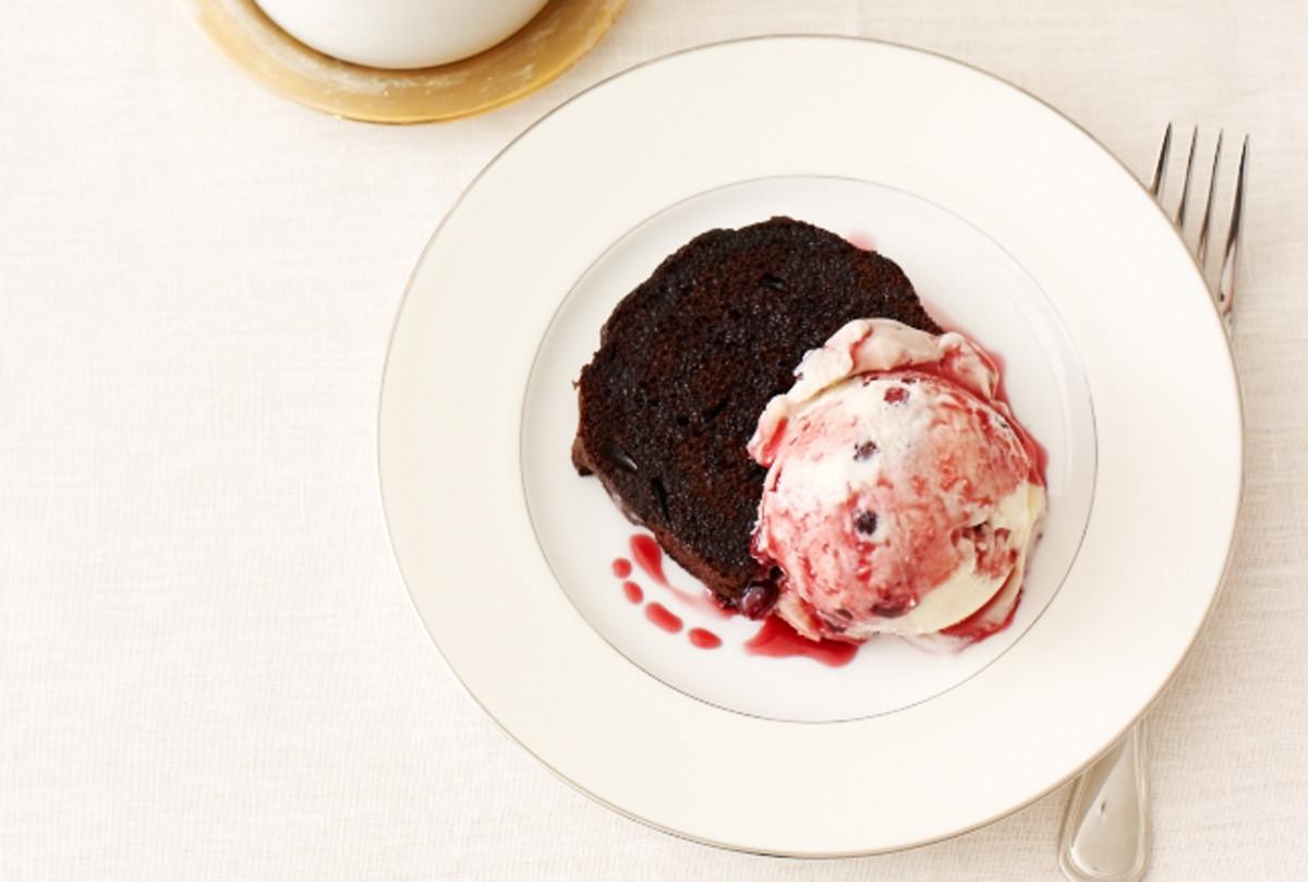 Chocolate Cake with Pomegranate Swirl