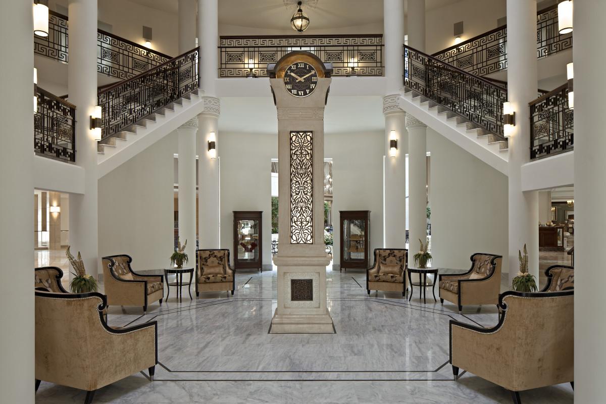 The Iconic Waldorf Astoria Clock at the Jerusalem Hotel Entrance