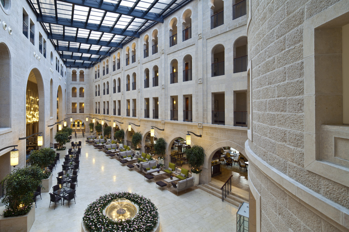 The Hotel Atrium Underneath the Jerusalem Sky
