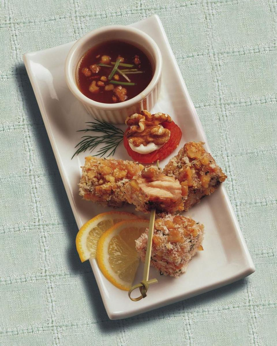 Walnut Crusted Salmon Bites with Apricot Ginger Dipping Sauce