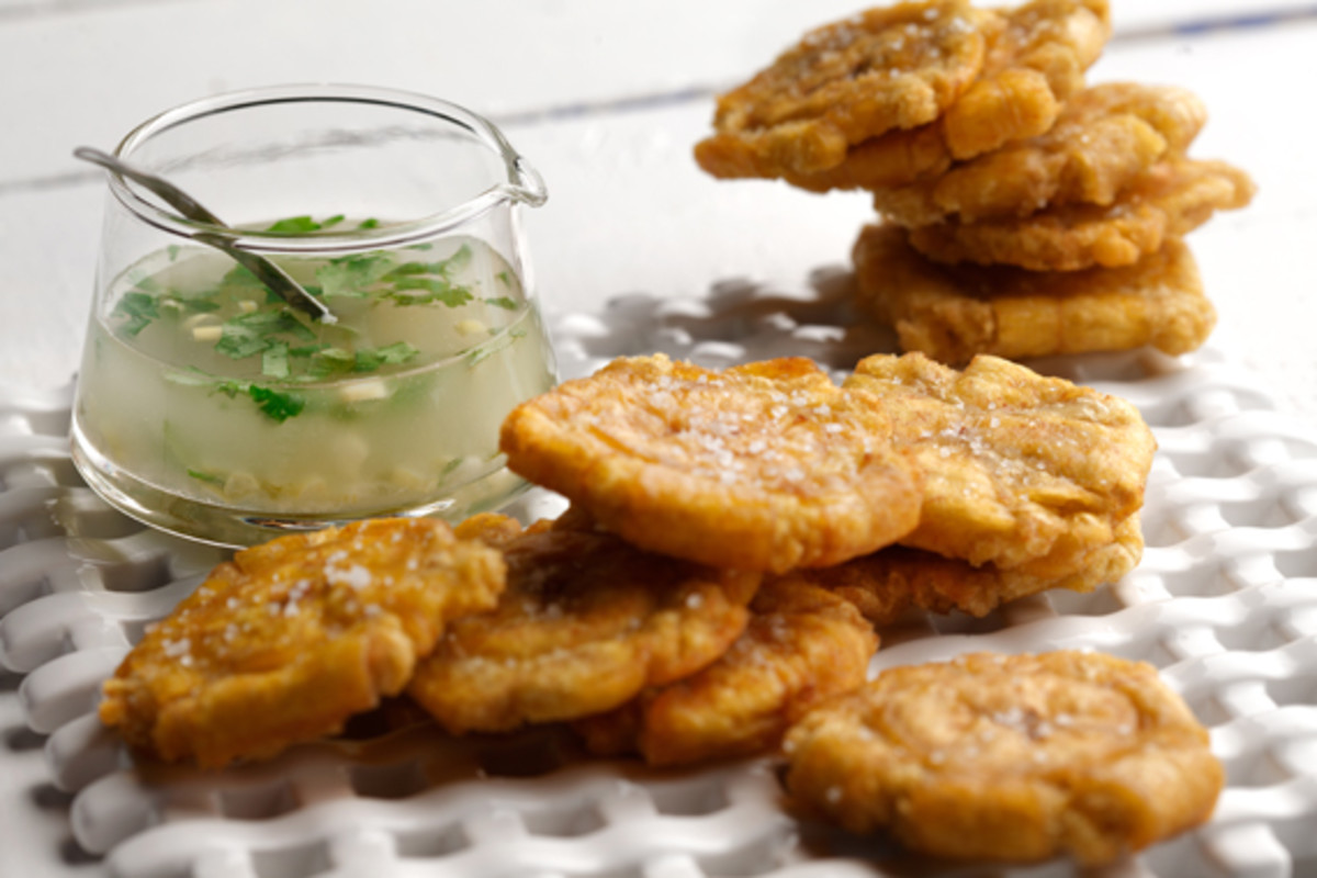 Canola Oil Fried Tostones (Fried Green Plantains)