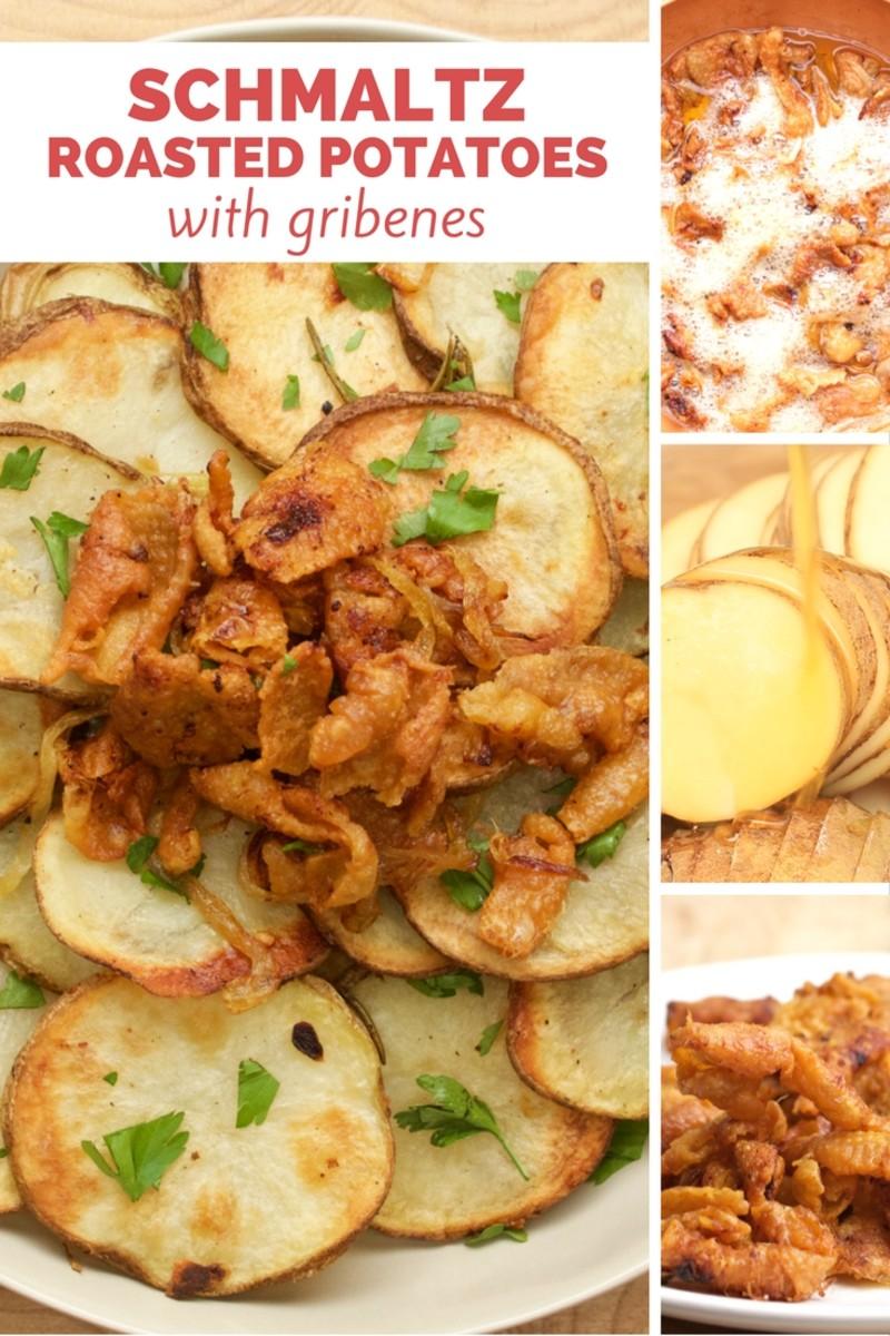 schmaltz roasted potatoes with gribenes pinterest