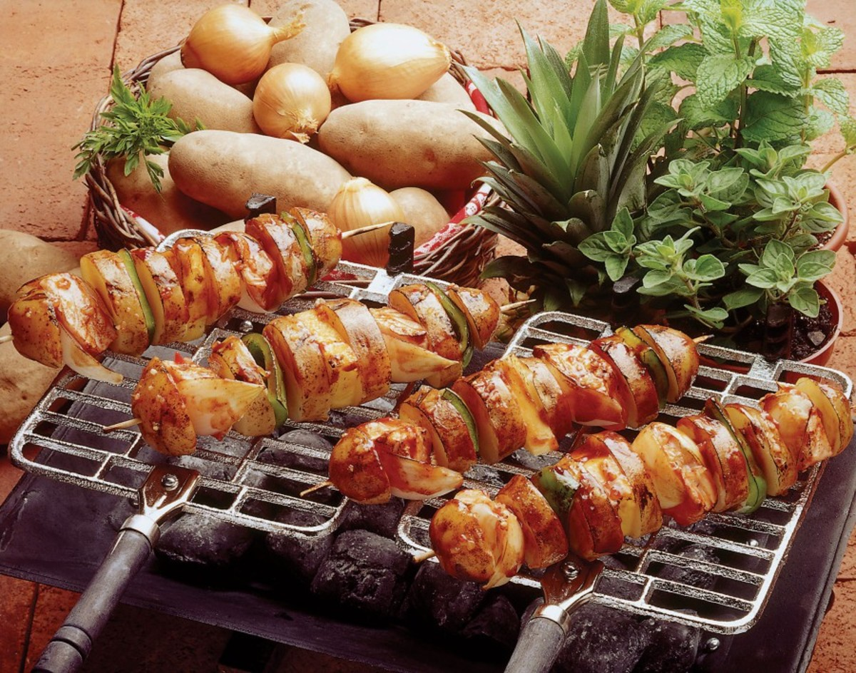 idaho potato and salmon shish-kebab