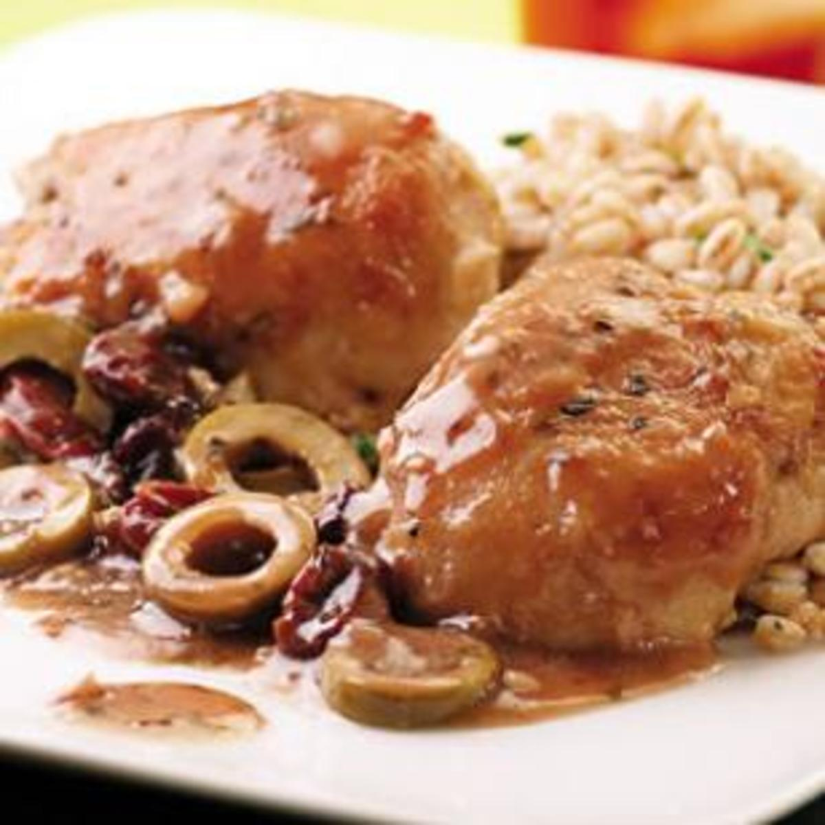 Chicken-Thighs-with-Green-Olive-Cherry-and-Port-Sauce