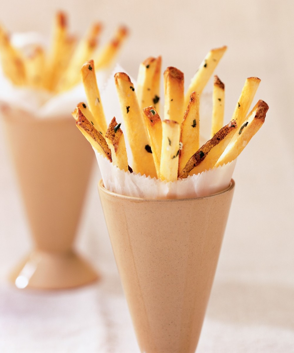 French fries with lime and cilantro