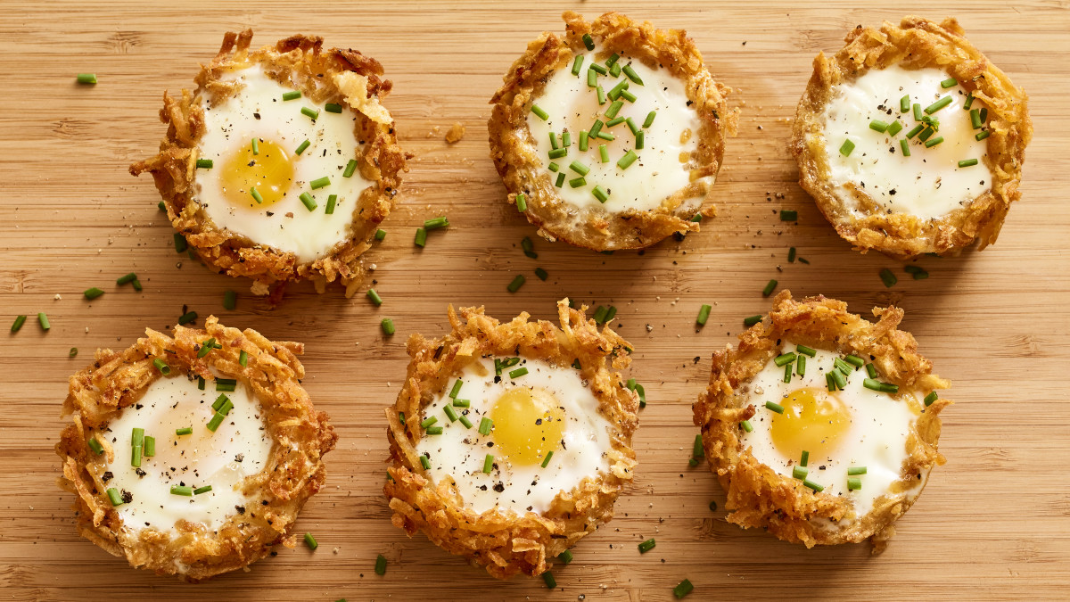 Moses In a Basket Hashbrown Baskets with Eggs