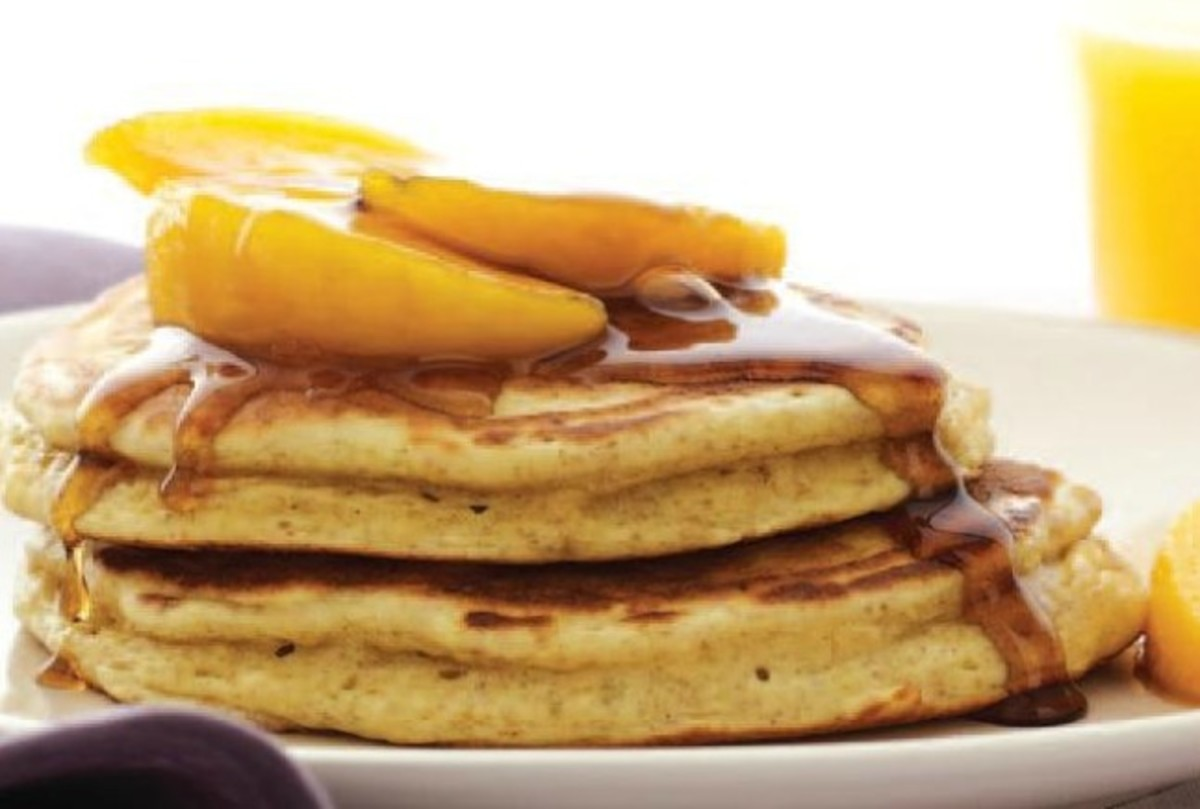 Ricotta Pancakes with Peach Syrup