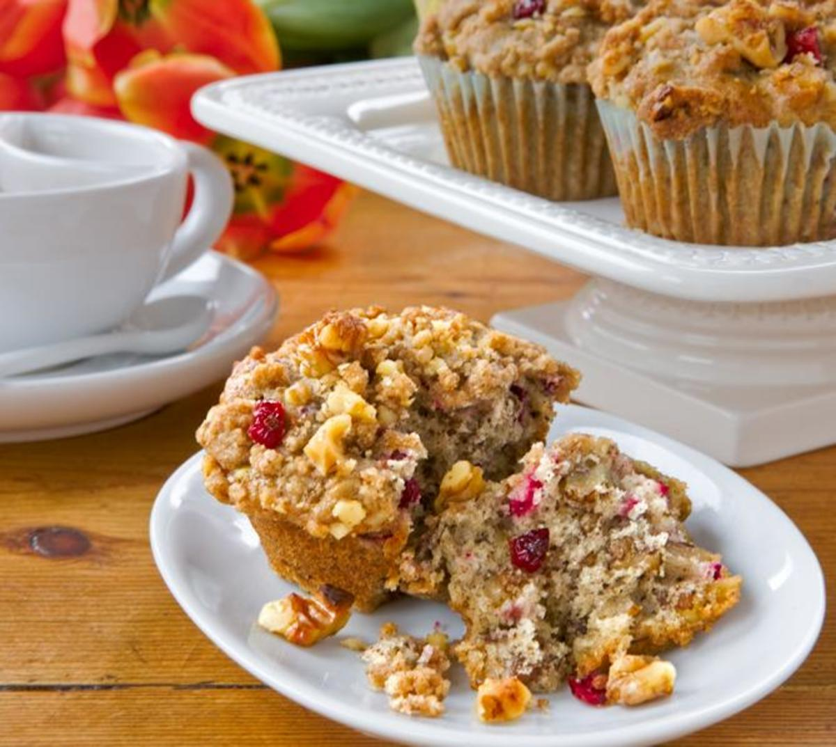 Nutty Cranberry Muffins with Streusel Topping
